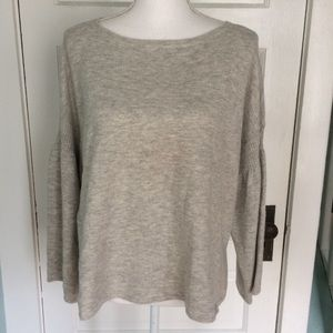 LOFT Outlet Lounge Oversized Gray/Cream Sweater M